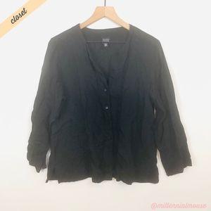 [Eileen Fisher] Black V-Neck Button Down Shirt